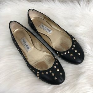 Jimmy Choo Black Studded Star Ballerina Flats